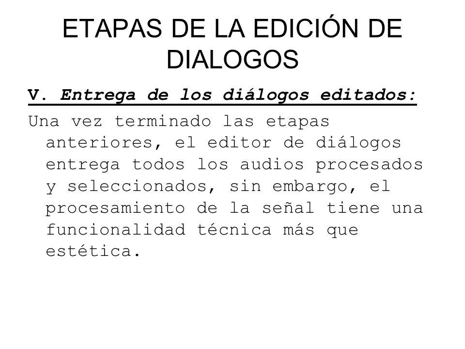 ETAPAS DE LA EDICIÓN DE DIALOGOS V. Entrega de los diálogos editados: Una vez terminado las etapas anteriores, el editor de diálogos entrega todos los