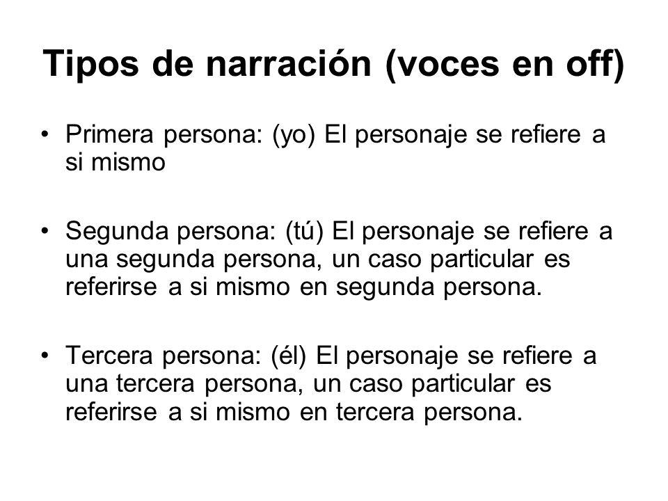 Tipos de narración (voces en off) Primera persona: (yo) El personaje se refiere a si mismo Segunda persona: (tú) El personaje se refiere a una segunda