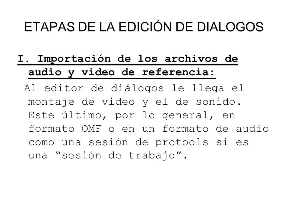 I. Importación de los archivos de audio y video de referencia: Al editor de diálogos le llega el montaje de video y el de sonido. Este último, por lo