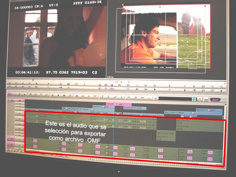 Ventana del editor de video AVID para crear un archivo OMF