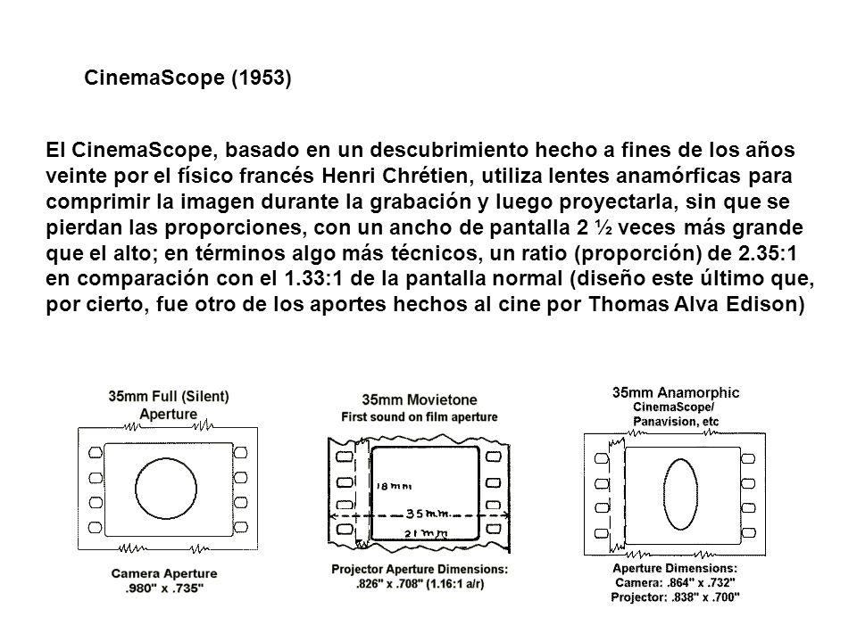 El CinemaScope, basado en un descubrimiento hecho a fines de los años veinte por el físico francés Henri Chrétien, utiliza lentes anamórficas para com