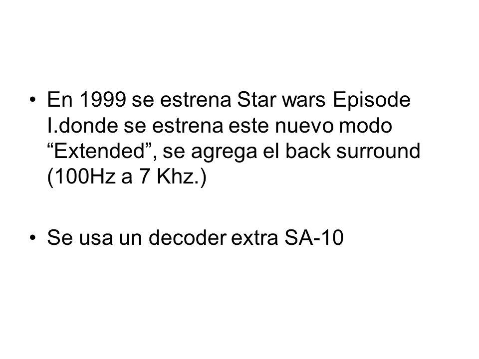 En 1999 se estrena Star wars Episode I.donde se estrena este nuevo modo Extended, se agrega el back surround (100Hz a 7 Khz.) Se usa un decoder extra