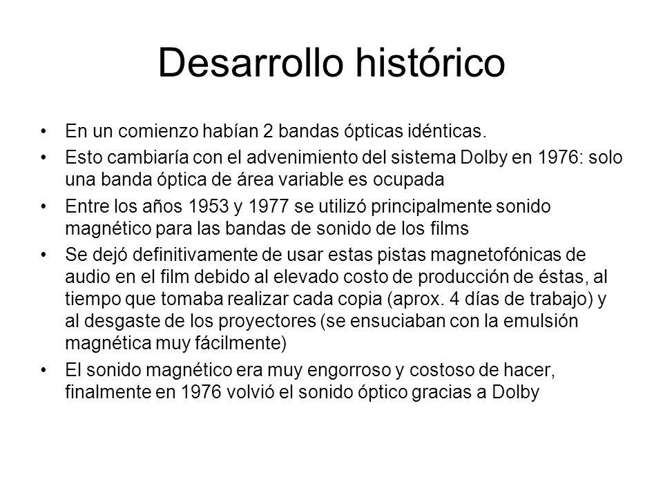 Desarrollo histórico En un comienzo habían 2 bandas ópticas idénticas. Esto cambiaría con el advenimiento del sistema Dolby en 1976: solo una banda óp