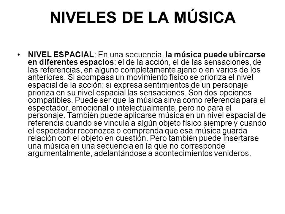NIVELES DE LA MÚSICA NIVEL ESPACIAL: En una secuencia, la música puede ubircarse en diferentes espacios: el de la acción, el de las sensaciones, de las referencias, en alguno completamente ajeno o en varios de los anteriores.