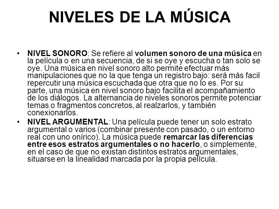 NIVELES DE LA MÚSICA NIVEL SONORO: Se refiere al volumen sonoro de una música en la película o en una secuencia, de si se oye y escucha o tan solo se oye.