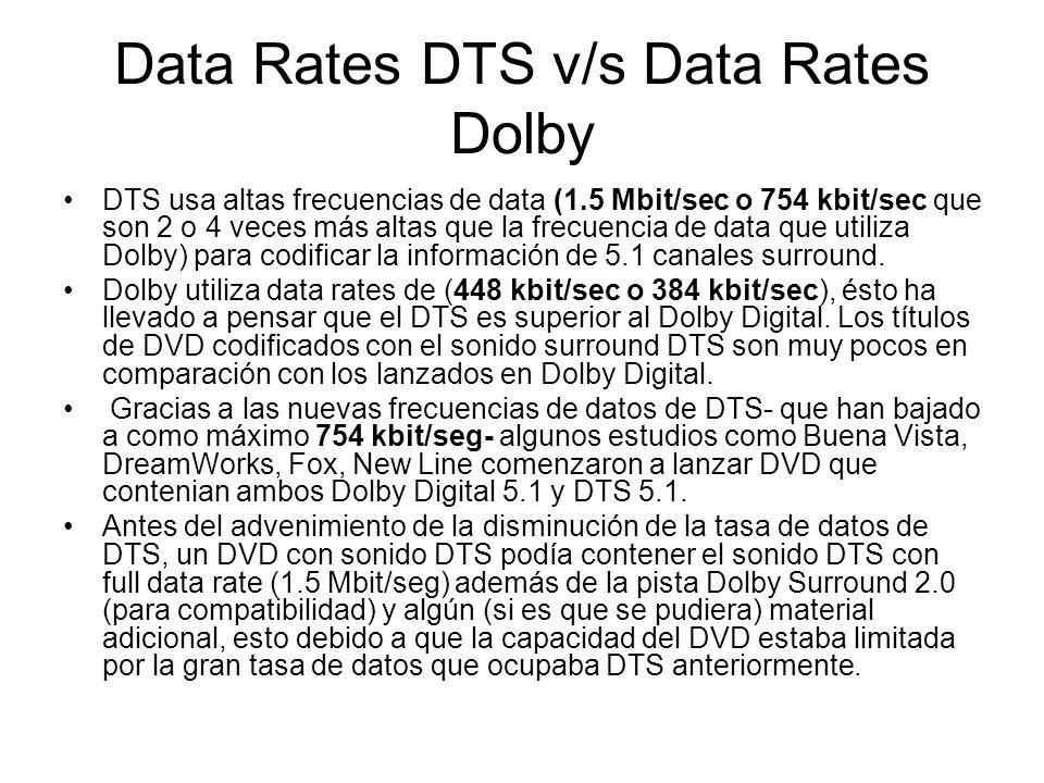 Data Rates DTS v/s Data Rates Dolby DTS usa altas frecuencias de data (1.5 Mbit/sec o 754 kbit/sec que son 2 o 4 veces más altas que la frecuencia de