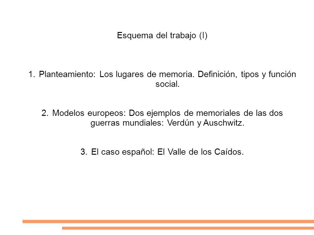 Esquema del trabajo (I) 1.Planteamiento: Los lugares de memoria. Definición, tipos y función social. 2.Modelos europeos: Dos ejemplos de memoriales de