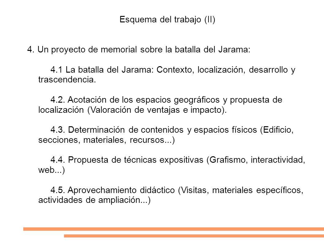 Esquema del trabajo (II) 4. Un proyecto de memorial sobre la batalla del Jarama: 4.1 La batalla del Jarama: Contexto, localización, desarrollo y trasc