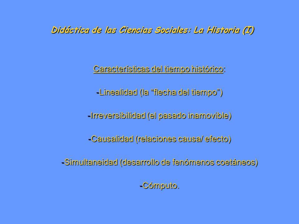 Didáctica de las Ciencias Sociales: La Historia (I) Características del tiempo histórico: -Linealidad (la flecha del tiempo) -Irreversibilidad (el pas