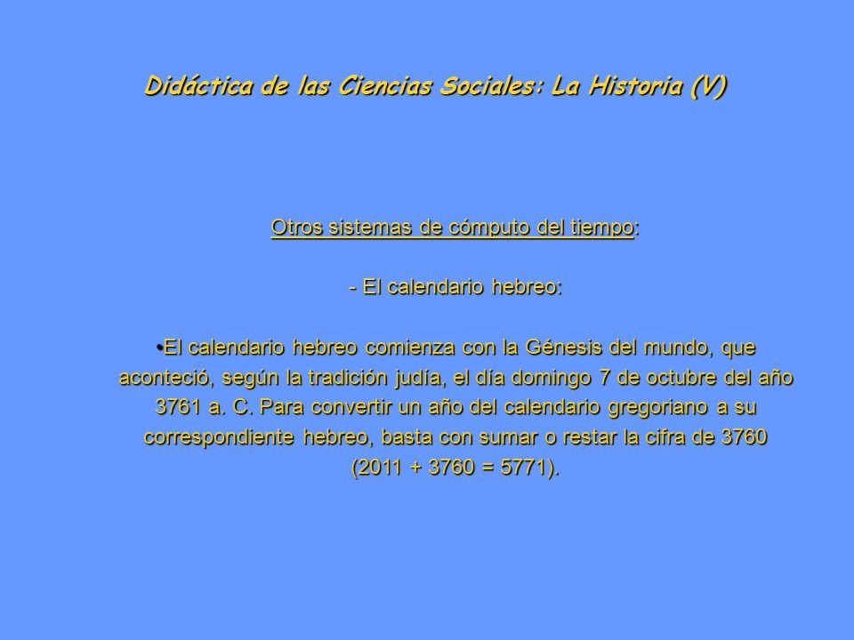 Didáctica de las Ciencias Sociales: La Historia (V) Otros sistemas de cómputo del tiempo: - El calendario hebreo: El calendario hebreo comienza con la