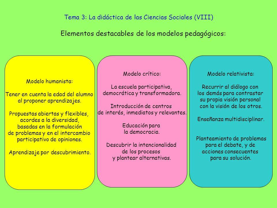 Tema 3: La didáctica de las Ciencias Sociales (VIII) Modelo humanista: Tener en cuenta la edad del alumno al proponer aprendizajes. Propuestas abierta