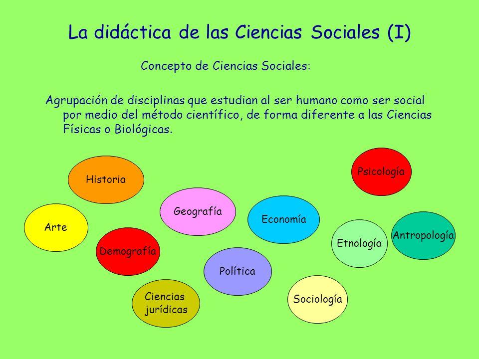 La didáctica de las Ciencias Sociales (I) Concepto de Ciencias Sociales: Agrupación de disciplinas que estudian al ser humano como ser social por medi