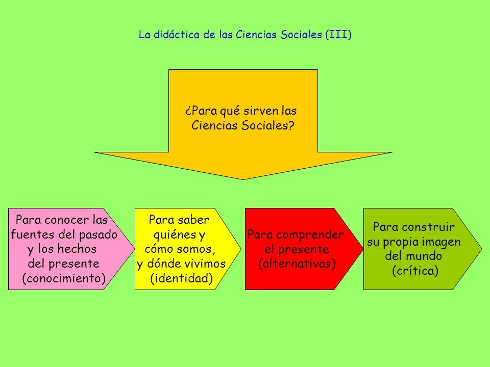 La didáctica de las Ciencias Sociales (III) ¿Para qué sirven las Ciencias Sociales? Para conocer las fuentes del pasado y los hechos del presente (con