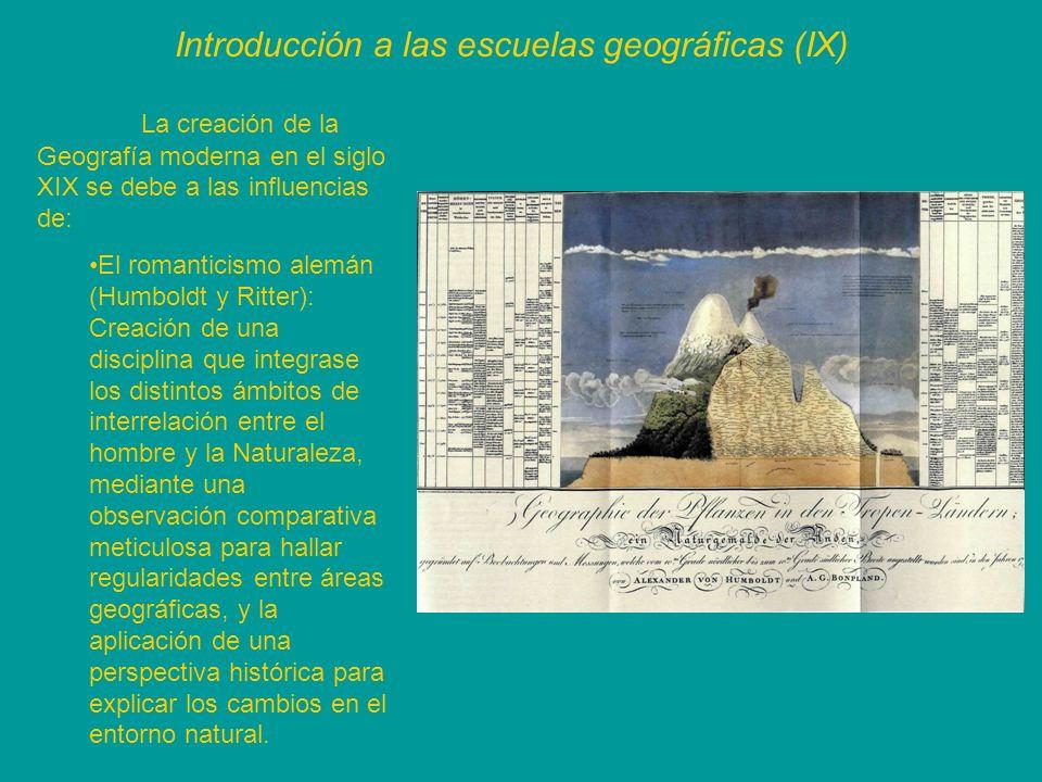 Introducción a las escuelas geográficas (IX) La creación de la Geografía moderna en el siglo XIX se debe a las influencias de: El romanticismo alemán