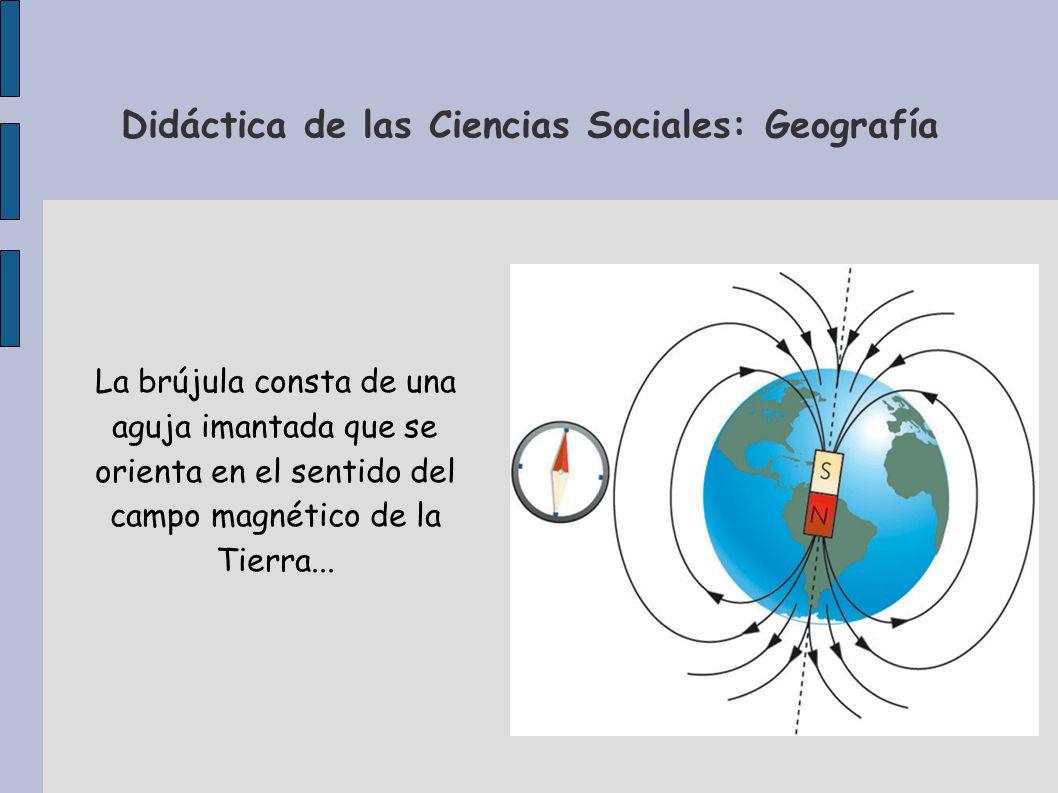 Didáctica de las Ciencias Sociales: Geografía La brújula consta de una aguja imantada que se orienta en el sentido del campo magnético de la Tierra...