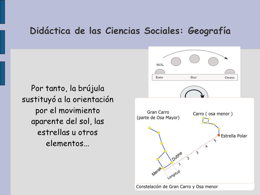 Didáctica de las Ciencias Sociales: Geografía Por tanto, la brújula sustituyó a la orientación por el movimiento aparente del sol, las estrellas u otr