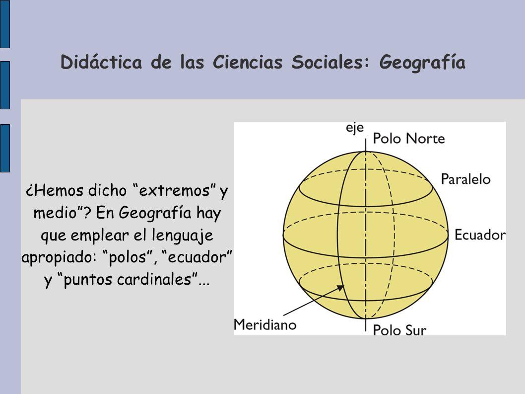 Didáctica de las Ciencias Sociales: Geografía ¿Hemos dicho extremos y medio? En Geografía hay que emplear el lenguaje apropiado: polos, ecuador y punt