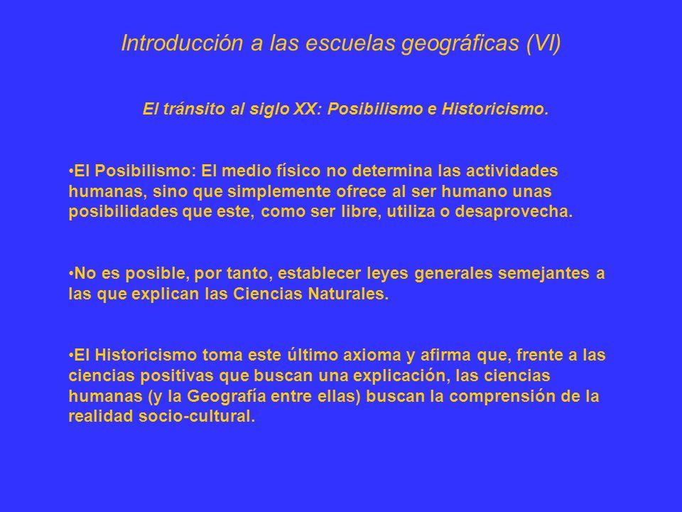 Introducción a las escuelas geográficas (VII) Se percibía el problema de que el estudio de la Geografía se escindiese entre una Geografía Física, atenta únicamente a los factores materiales del territorio, y una Geografía Humana, especializada exclusivamente en los elementos demográficos y económicos.