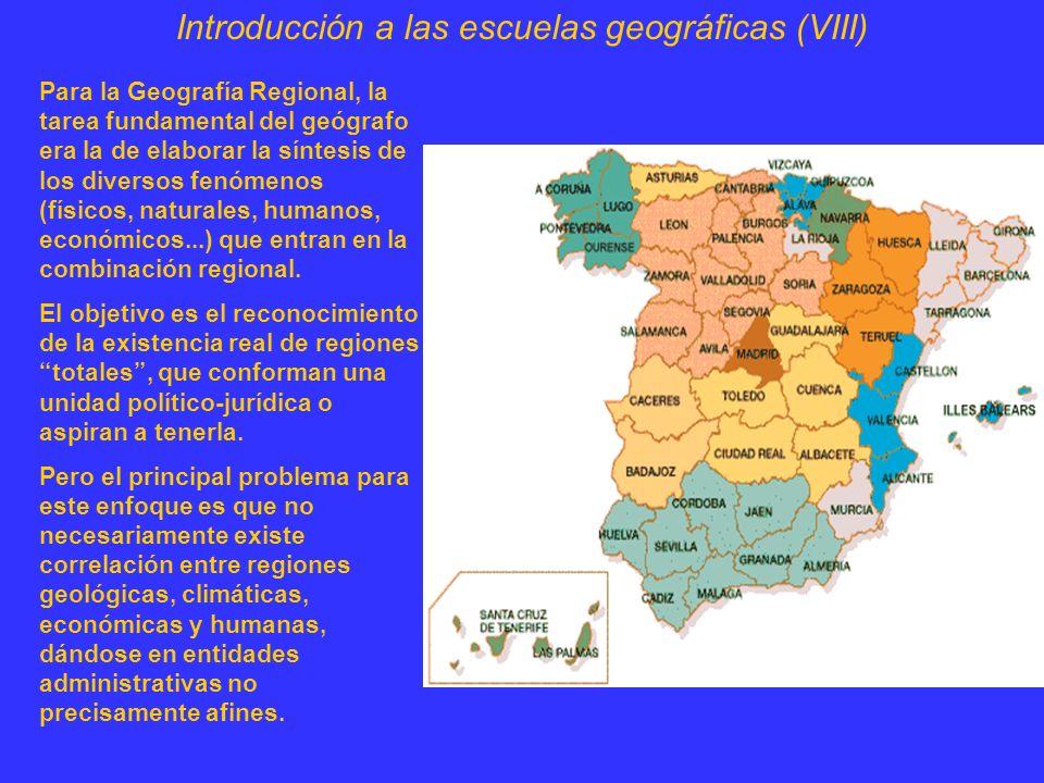 Introducción a las escuelas geográficas (IX) La solución se formuló en términos de buscar regiones funcionales, generadas por una red urbana interrelacionada.