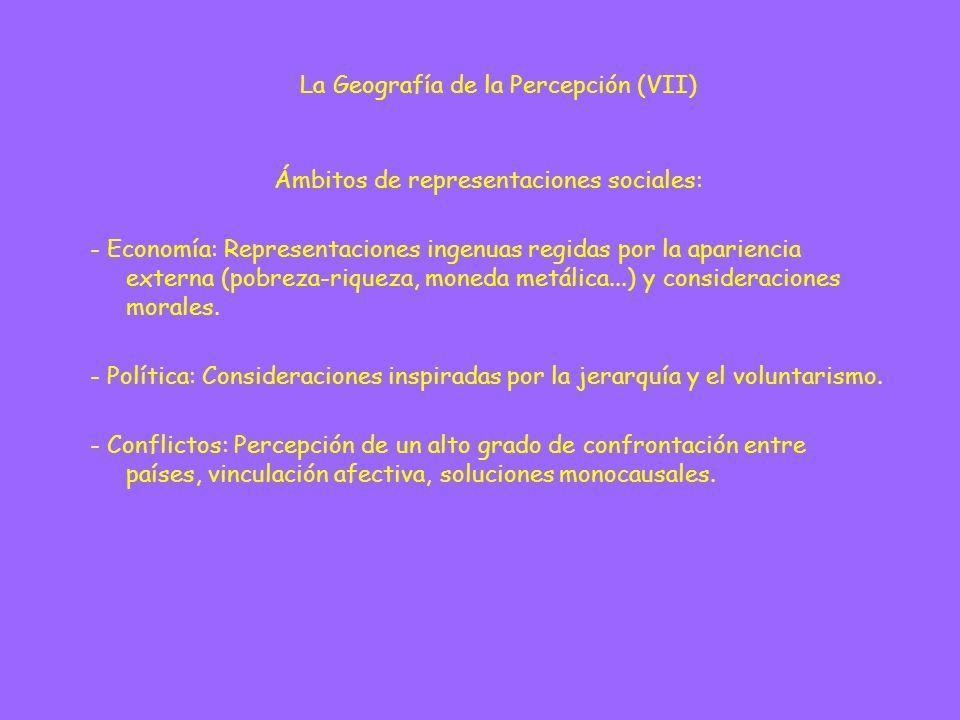 Ámbitos de representaciones sociales: - Economía: Representaciones ingenuas regidas por la apariencia externa (pobreza-riqueza, moneda metálica...) y