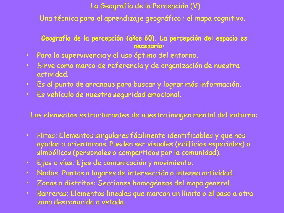 Geografía de la percepción (años 60). La percepción del espacio es necesaria: Para la supervivencia y el uso óptimo del entorno. Sirve como marco de r