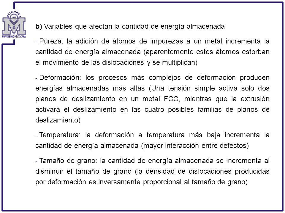 b) Variables que afectan la cantidad de energía almacenada - Pureza: la adición de átomos de impurezas a un metal incrementa la cantidad de energía al