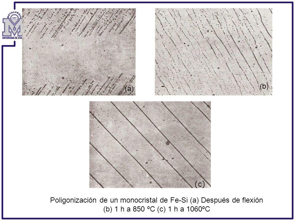 Poligonización de un monocristal de Fe-Si (a) Después de flexión (b) 1 h a 850 ºC (c) 1 h a 1060ºC (a) (b) (c)