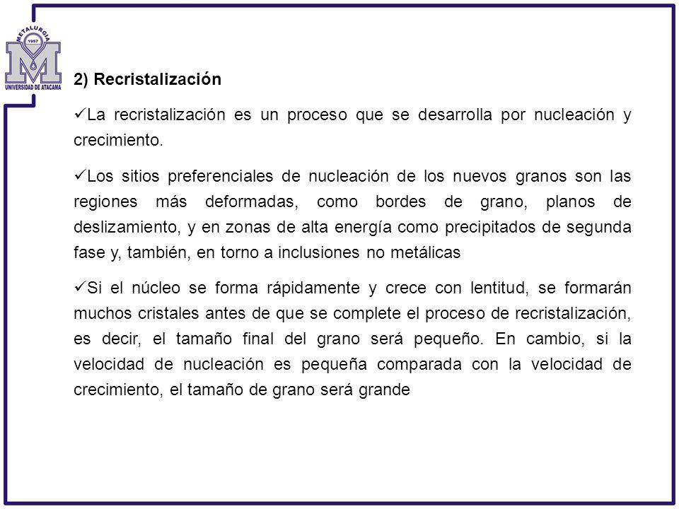 2) Recristalización La recristalización es un proceso que se desarrolla por nucleación y crecimiento. Los sitios preferenciales de nucleación de los n