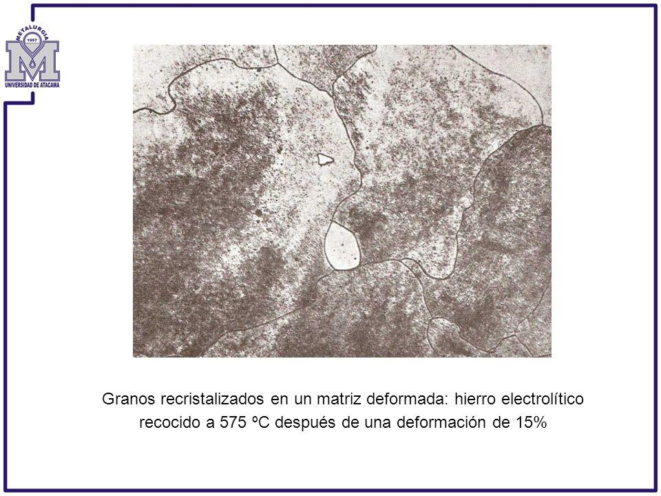 Granos recristalizados en un matriz deformada: hierro electrolítico recocido a 575 ºC después de una deformación de 15%