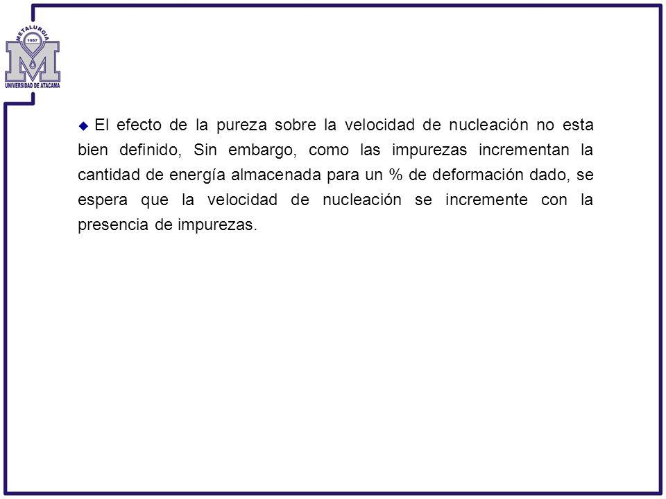 El efecto de la pureza sobre la velocidad de nucleación no esta bien definido, Sin embargo, como las impurezas incrementan la cantidad de energía alma