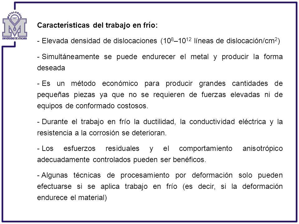 Características del trabajo en frío: - Elevada densidad de dislocaciones (10 8 –10 12 líneas de dislocación/cm 2 ) - Simultáneamente se puede endurece