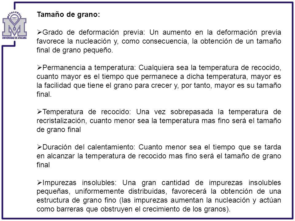 Tamaño de grano: Grado de deformación previa: Un aumento en la deformación previa favorece la nucleación y, como consecuencia, la obtención de un tama