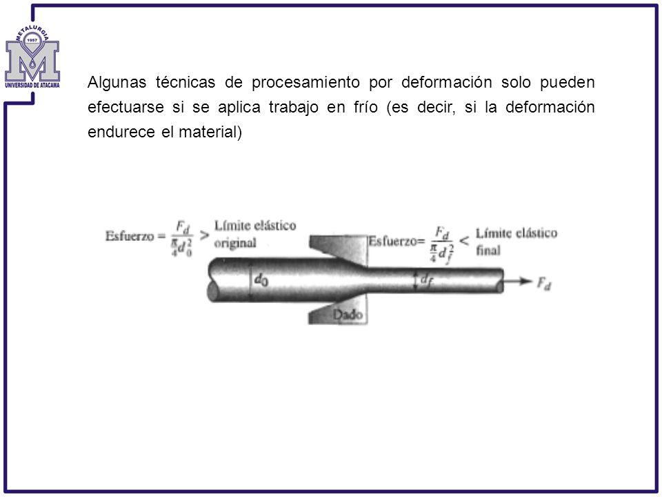 Algunas técnicas de procesamiento por deformación solo pueden efectuarse si se aplica trabajo en frío (es decir, si la deformación endurece el materia
