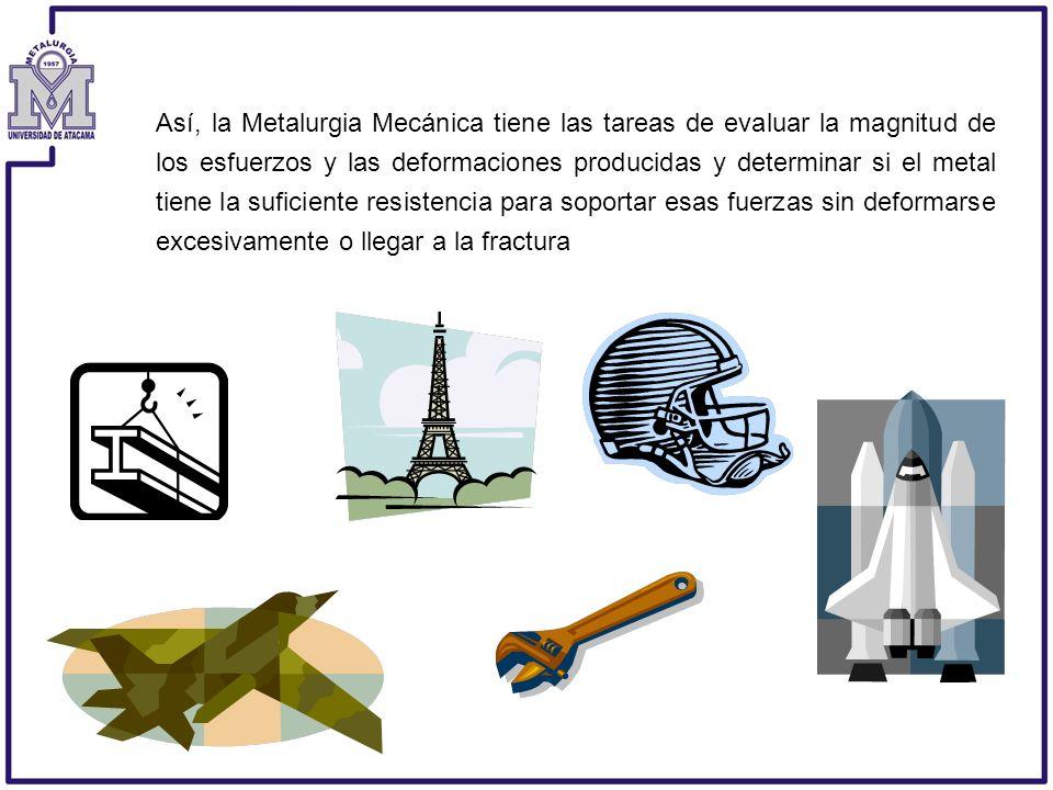 Así, la Metalurgia Mecánica tiene las tareas de evaluar la magnitud de los esfuerzos y las deformaciones producidas y determinar si el metal tiene la