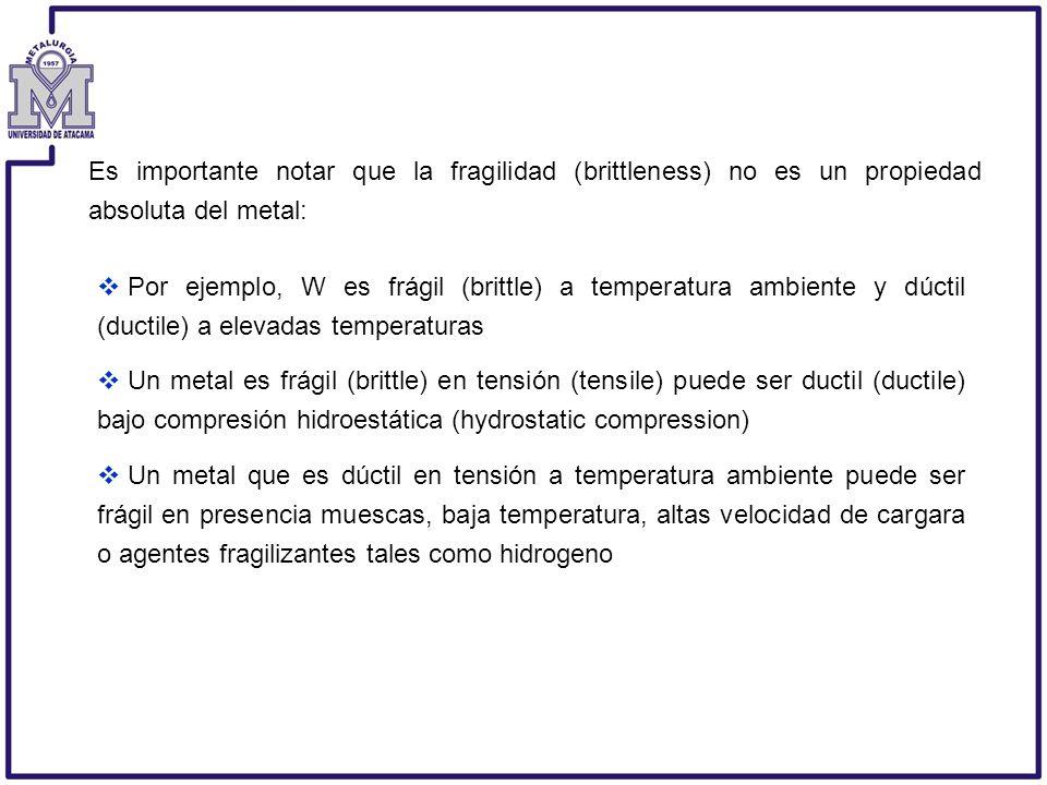 Por ejemplo, W es frágil (brittle) a temperatura ambiente y dúctil (ductile) a elevadas temperaturas Un metal es frágil (brittle) en tensión (tensile)