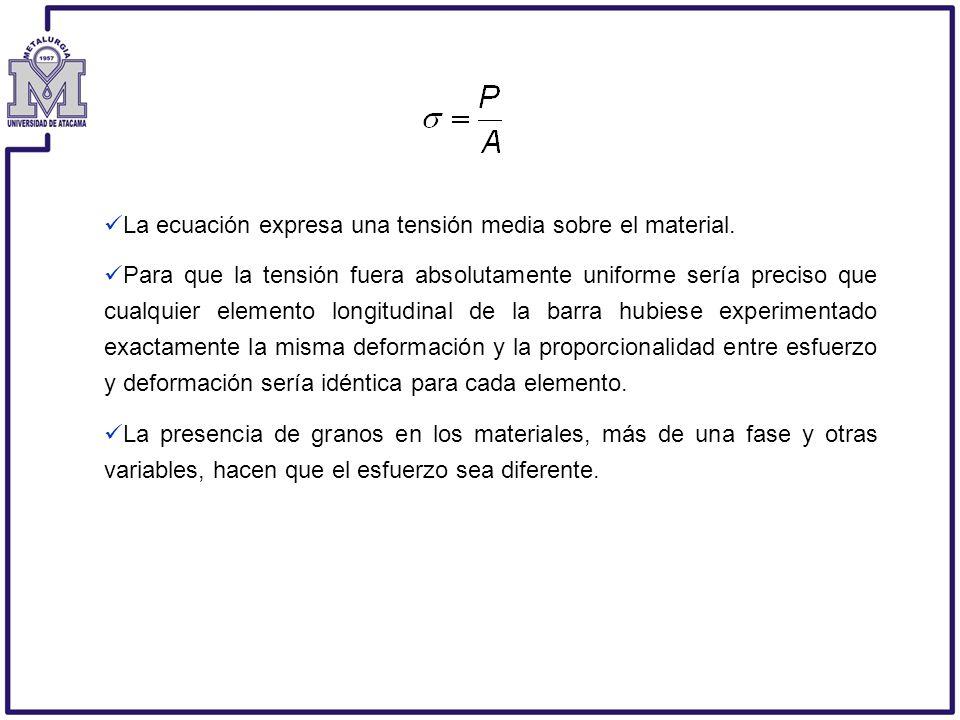 La ecuación expresa una tensión media sobre el material. Para que la tensión fuera absolutamente uniforme sería preciso que cualquier elemento longitu