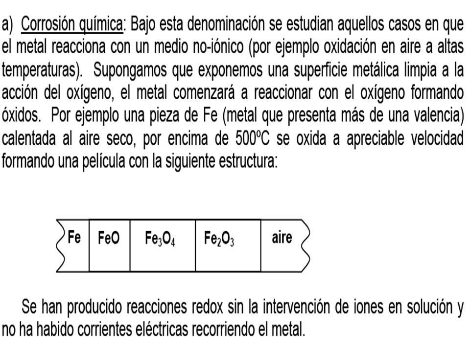 Incluye los tipos de corrosión donde no se aprecia el flujo de electrones a través del metal.