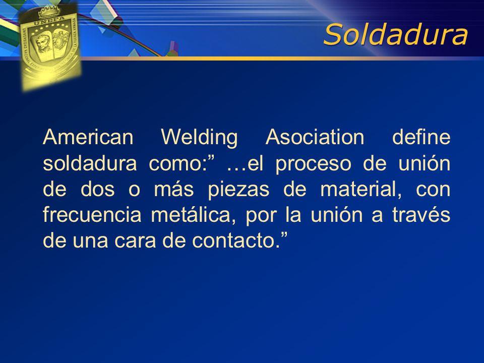 American Welding Asociation define soldadura como: …el proceso de unión de dos o más piezas de material, con frecuencia metálica, por la unión a travé