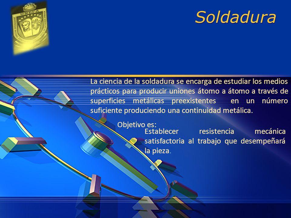 LOGO Soldadura La ciencia de la soldadura se encarga de estudiar los medios prácticos para producir uniones átomo a átomo a través de superficies metá