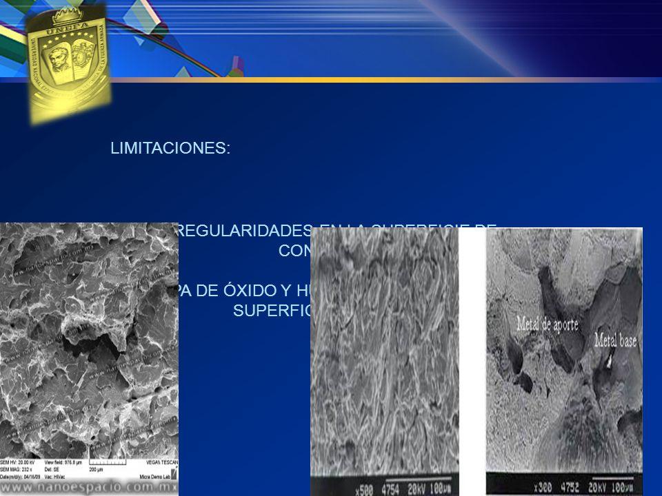 LIMITACIONES: IRREGULARIDADES EN LA SUPERFICIE DE CONTACTO. CAPA DE ÓXIDO Y HUMEDA ADHERIDAS A LA SUPERFICIE METÁLICA