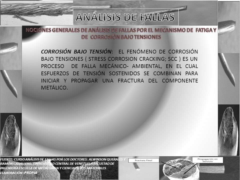 FUENTE: CURSO ANÁLISIS DE FALLAS POR LOS DOCTORES: ALWINSON QUERALES Y RAMÓN CABALLERO. UNIVERSIDAD CENTRAL DE VENEZUELA FACULTAD DE INGENIERÍA ESCUEL
