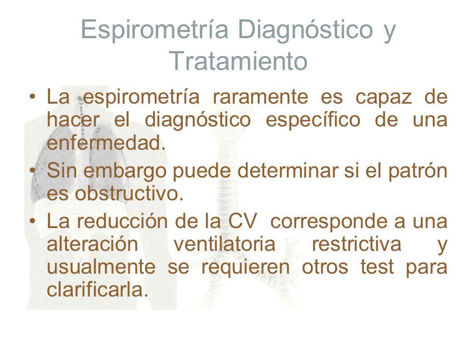 Espirometría Diagnóstico y Tratamiento La espirometría raramente es capaz de hacer el diagnóstico específico de una enfermedad. Sin embargo puede dete