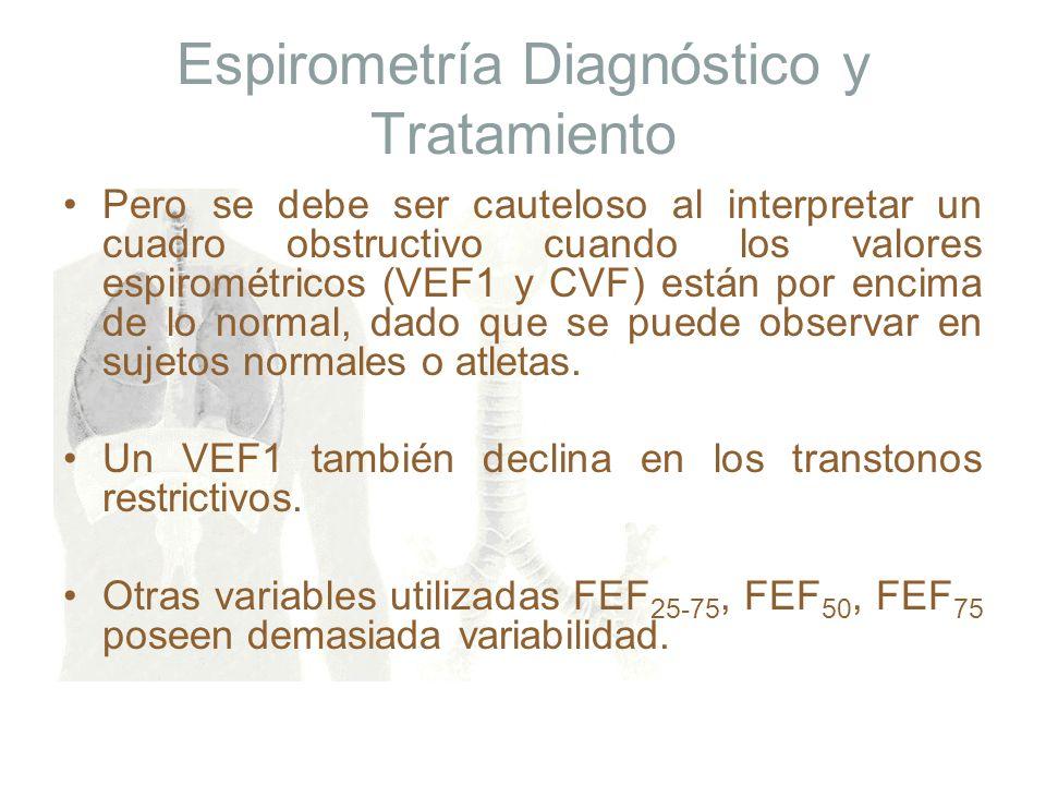 Espirometría Diagnóstico y Tratamiento Pero se debe ser cauteloso al interpretar un cuadro obstructivo cuando los valores espirométricos (VEF1 y CVF)