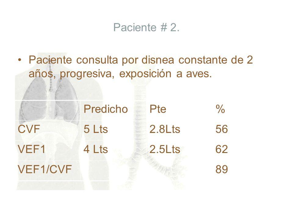Paciente # 2. Paciente consulta por disnea constante de 2 años, progresiva, exposición a aves. PredichoPte% CVF5 Lts2.8Lts56 VEF14 Lts2.5Lts62 VEF1/CV