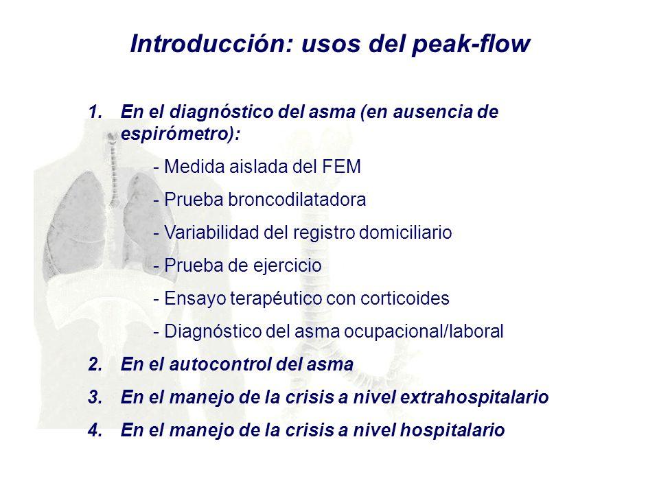 1.En el diagnóstico del asma (en ausencia de espirómetro): - Medida aislada del FEM - Prueba broncodilatadora - Variabilidad del registro domiciliario