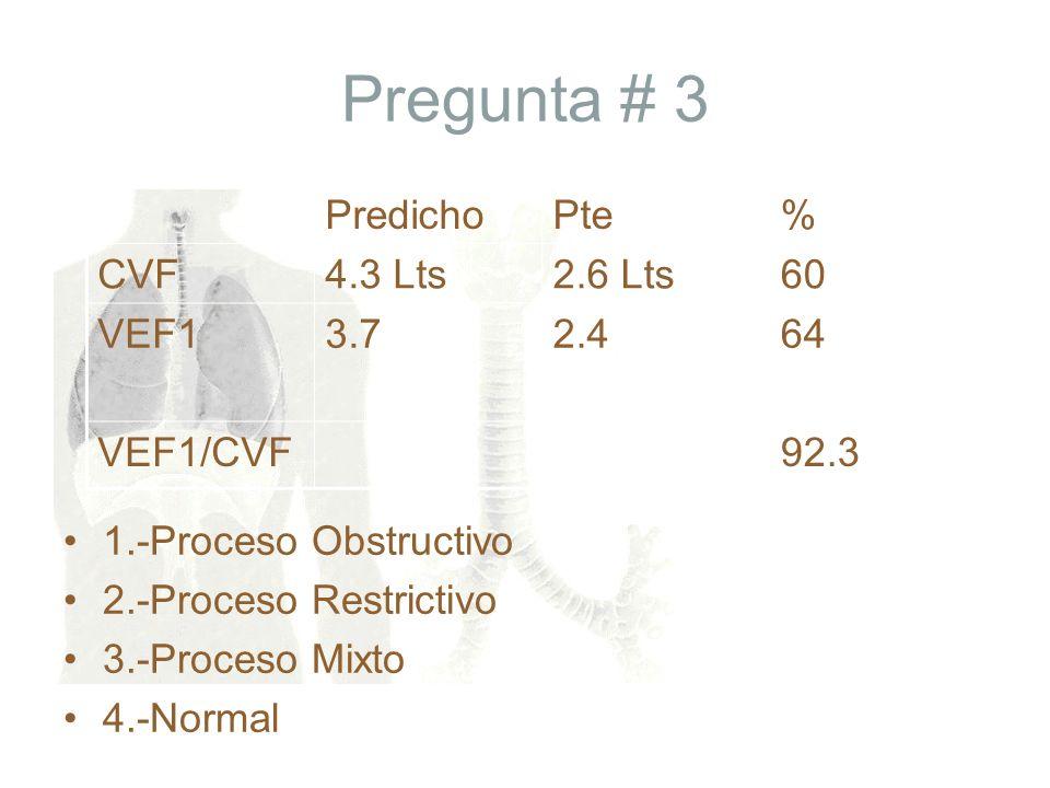 Pregunta # 3 1.-Proceso Obstructivo 2.-Proceso Restrictivo 3.-Proceso Mixto 4.-Normal PredichoPte% CVF4.3 Lts2.6 Lts60 VEF13.72.464 VEF1/CVF92.3