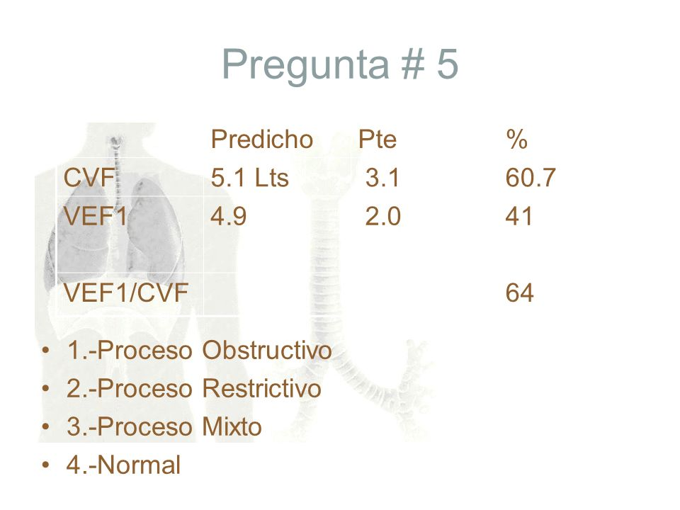 Pregunta # 5 1.-Proceso Obstructivo 2.-Proceso Restrictivo 3.-Proceso Mixto 4.-Normal PredichoPte% CVF5.1 Lts 3.160.7 VEF14.9 2.041 VEF1/CVF64