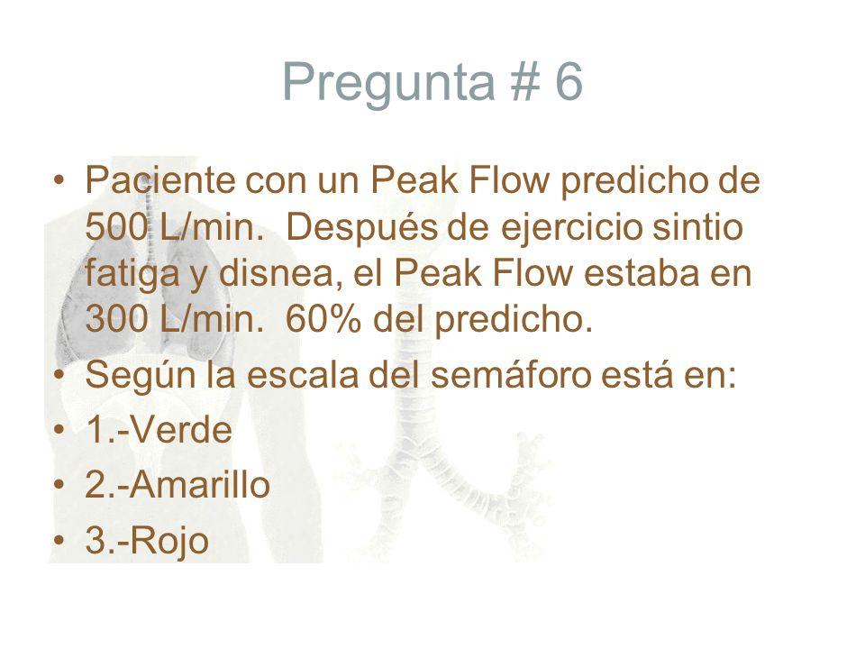 Pregunta # 6 Paciente con un Peak Flow predicho de 500 L/min. Después de ejercicio sintio fatiga y disnea, el Peak Flow estaba en 300 L/min. 60% del p