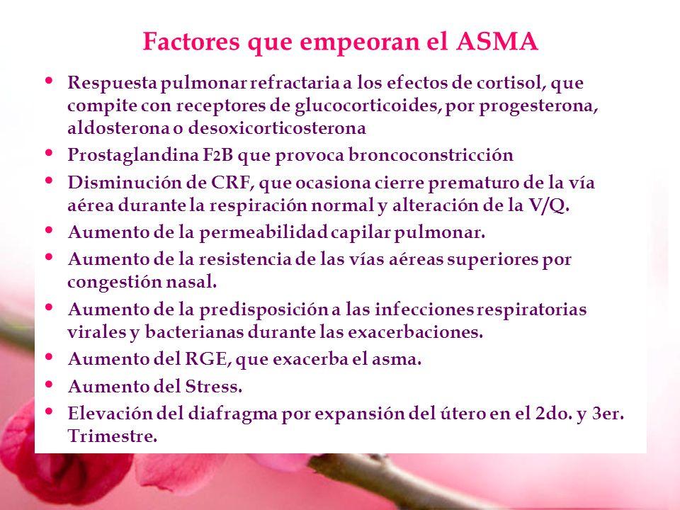 Factores que empeoran el ASMA Respuesta pulmonar refractaria a los efectos de cortisol, que compite con receptores de glucocorticoides, por progestero
