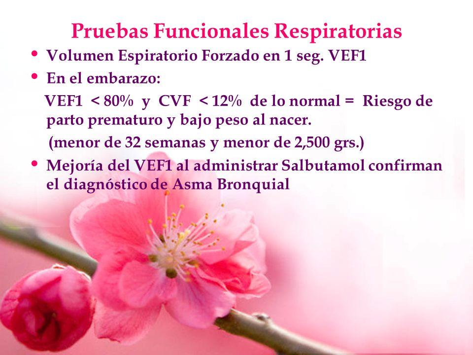 Pruebas Funcionales Respiratorias Volumen Espiratorio Forzado en 1 seg. VEF1 En el embarazo: VEF1 < 80% y CVF < 12% de lo normal = Riesgo de parto pre